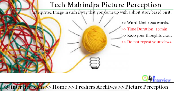 Tech Mahindra pictures perception story writing with answers